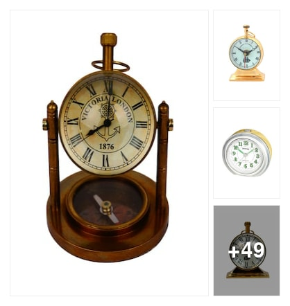 Antique brass table clock gift items and along with home . Online shopping look by vinod