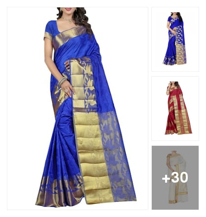 """Wardrobe essential :- gold border PaLLu""👇. Online shopping look by Kinki"