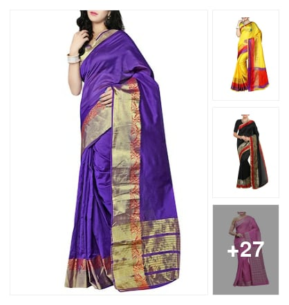 Suistainable   Bordered   Sarees. Online shopping look by buddy