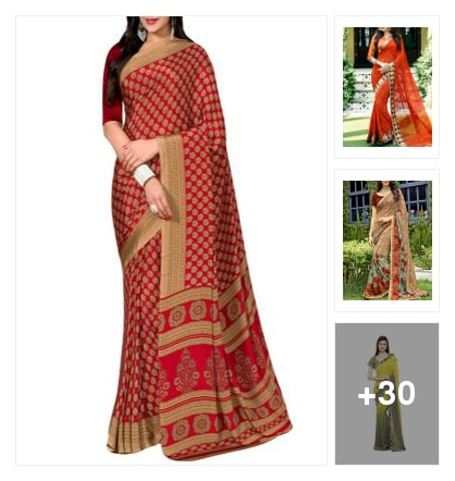 Fashion sarees collection. Online shopping look by dare