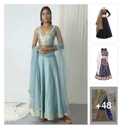 Chen deri flared lehangas. Online shopping look by suresh