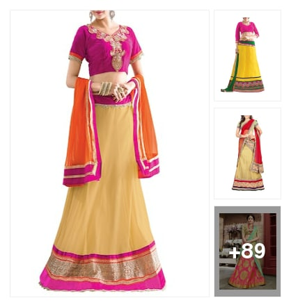 Panelled Lehengas. Online shopping look by jinglejingle