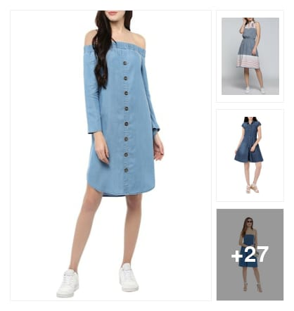 Denim dresses collection have a look at once. Online shopping look by Vijji