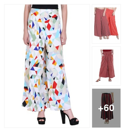 Flared palazzos are trending👌😊. Online shopping look by Jeya