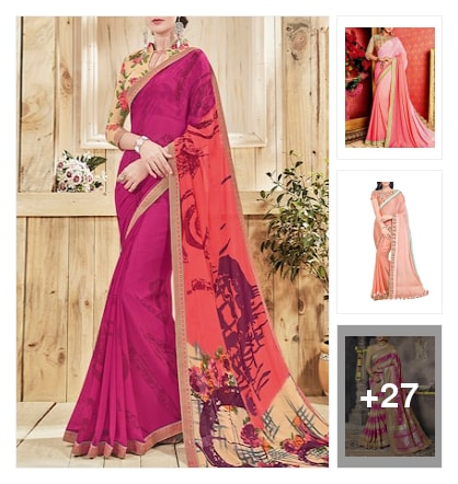 Pink Sarees+lace pattern. Online shopping look by Priyanka