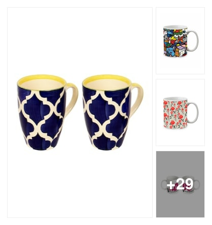 Coffee mugs for a win. Online shopping look by Pankh