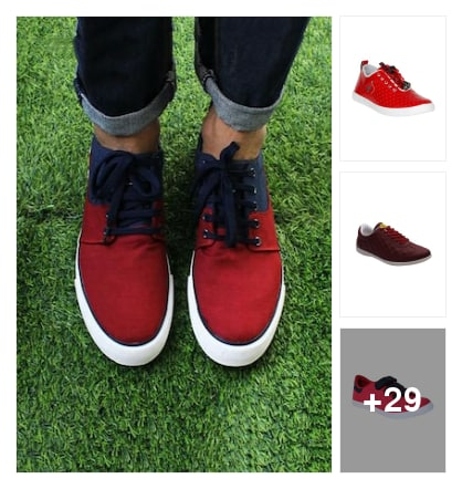 """Trend alert :- red sneakers !!""👇. Online shopping look by Kinki"