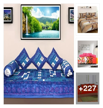 Colorful bedsheet with good home. Online shopping look by sravani