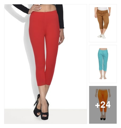 Cotton blend capris in all colours. Online shopping look by Yasmitha