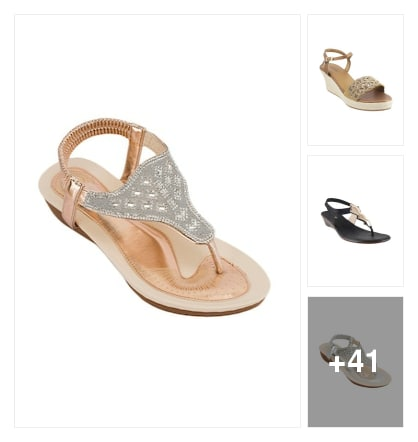 Gold tpr back strap wedge sandle amazing . Online shopping look by kalpana