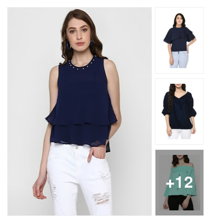 Different shades of blue. Online shopping look by Kriti