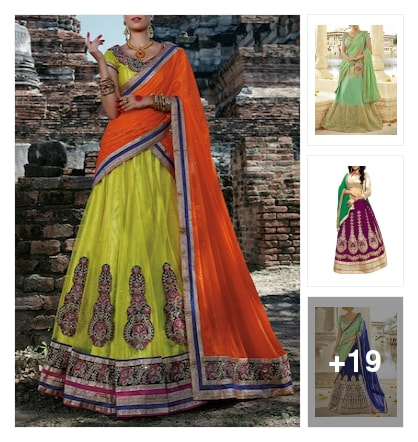 Nice lehengas collection. Online shopping look by ramakrishna