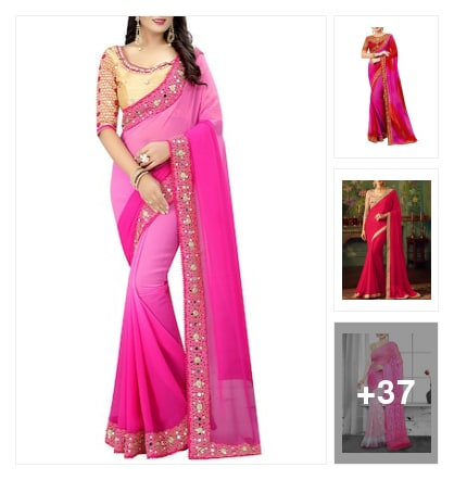 Pink Sarees💖. Online shopping look by 💚❤Padmini❤💚