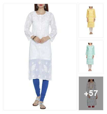 chikankari kurtas under 999. Online shopping look by Nikita