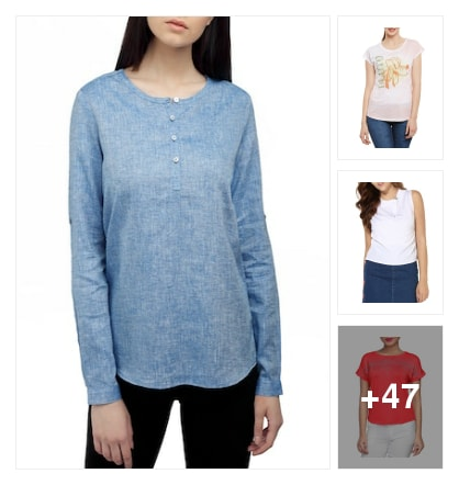 Tops with round neck . Online shopping look by Tiny