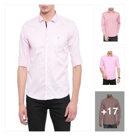 Trend alert :- pink colour shirts. Online shopping look by Kinki