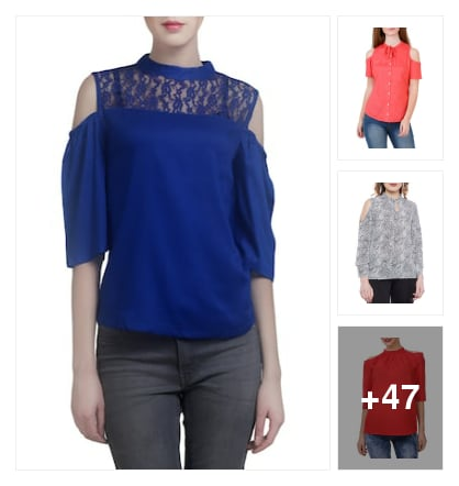 Cold shoulder tops. Online shopping look by Teju