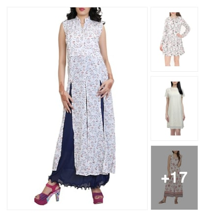 Special floral white dresses. Online shopping look by Chandra