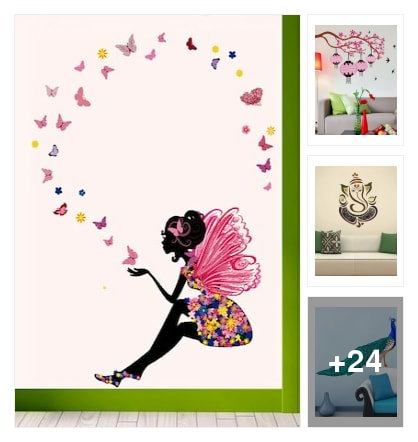 Wall decor sticker. Online shopping look by kavita