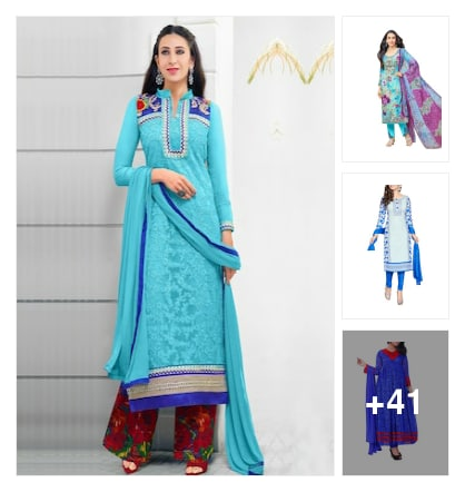 Beautiful ethnicwear suits here. Online shopping look by Geeta