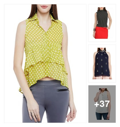 Sleeveless tops for beautiful girls . Online shopping look by Vijji