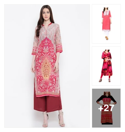 Pink kurtas for girls. Online shopping look by Dosy