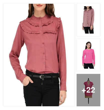 Pink and peach color shirts. Online shopping look by Chandra