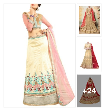 Beautiful lahengas with new collection. Online shopping look by chinna