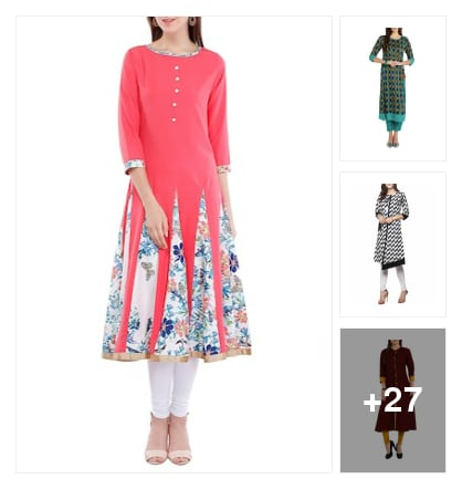 Kurtas for fashion girls. Online shopping look by kavya