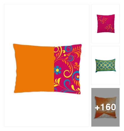 Colourful pillow and cushions through for shopping . Online shopping look by vinod