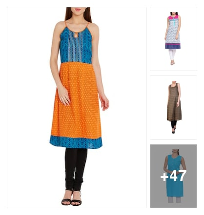 Sleeveless cotton kurtas. Online shopping look by Teju