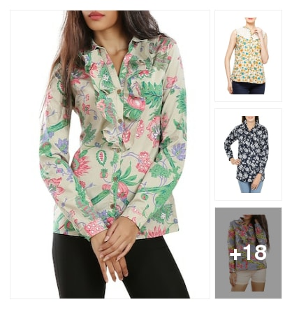 Cotton Floral Printed Shirts  . Online shopping look by Ruppi