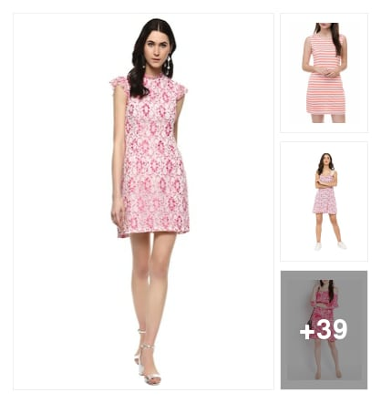 Pink colored dress collection. Online shopping look by jyoti