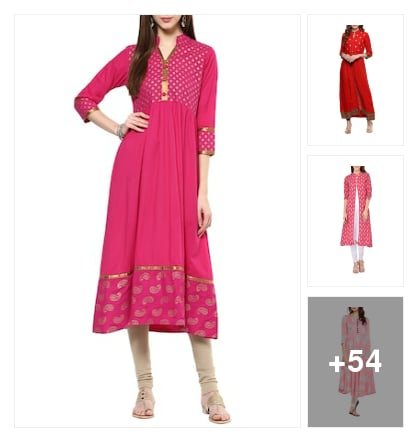 Red & Pink Kurta Style. Online shopping look by PREET