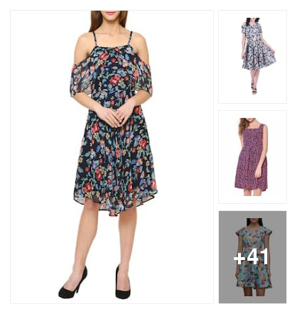 Multi colour printed fit and flare dresses . Online shopping look by konda