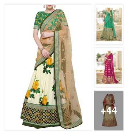 Art silk lehengas. Online shopping look by max