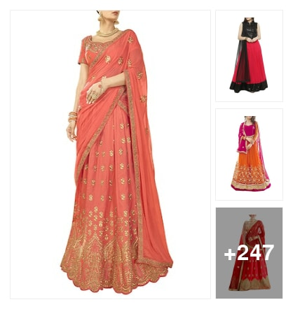 Lehangas for beautiful looking. Online shopping look by sravani