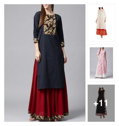 kurtas with skirts. Online shopping look by Harsha