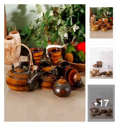 Stunning stone ware tea sets for stylish people. Online shopping look by Sunehri