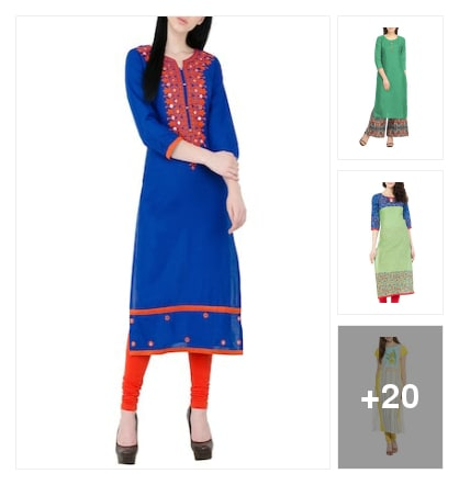 Wardrobe essential :- straight kurta. Online shopping look by Kinki