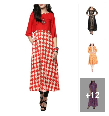 Wardrobe essential :- flared kurta. Online shopping look by Kinki