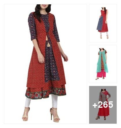 We love layered kurthas. Online shopping look by santhi