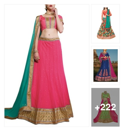 Party looking lehangas. Online shopping look by sravani