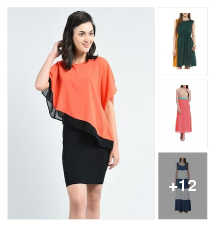 Dresses With Contrast Colour Magic. Online shopping look by Sunehri