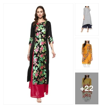 A-line kurtas trending. Online shopping look by Pooja