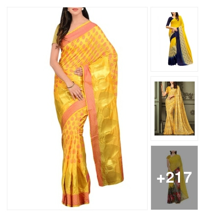 In shades if yellow sarees. Online shopping look by suresh