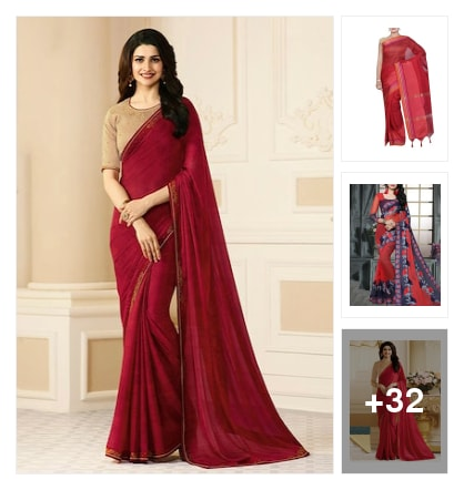 Dropped in red sarees. Online shopping look by Chandra