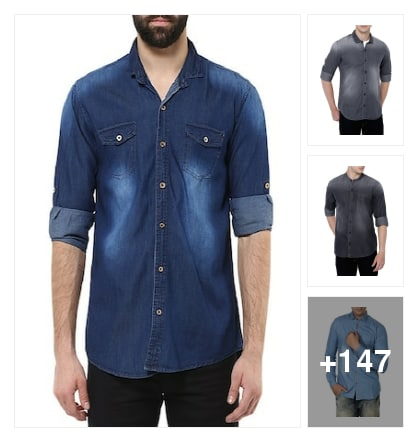 Beautiful  denim casual shirts for men. Online shopping look by suresh