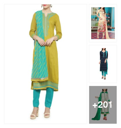 Go fushion suit dress material. Online shopping look by kishore