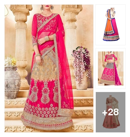 Lehengas in pink. Online shopping look by vikram